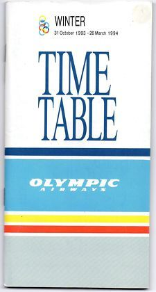 View Item: Airline Timetable Olympic Airways October 1993