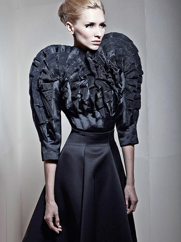 Sculptural Fashion Drama - elegant exaggeration - 3D structured dress form with pleated texture detail; wearable art // Oleg Evdokimov