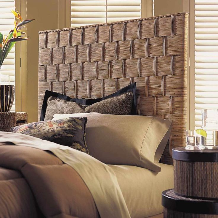 Beautified Your Bedroom With Beautiful Brown Headboards : Fabulous Light Brown Rattan Headboard Ideas With Brown Mattress Set and Nice Brown Rattan Bedside Table also Light Brown Bed Cover
