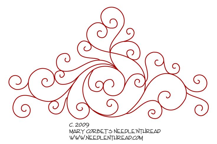 This type of scrolly design is a good way to practice line stitches, especially stitches such as stem stitch, coral stitch, Palestrina stitch, and chain stitch