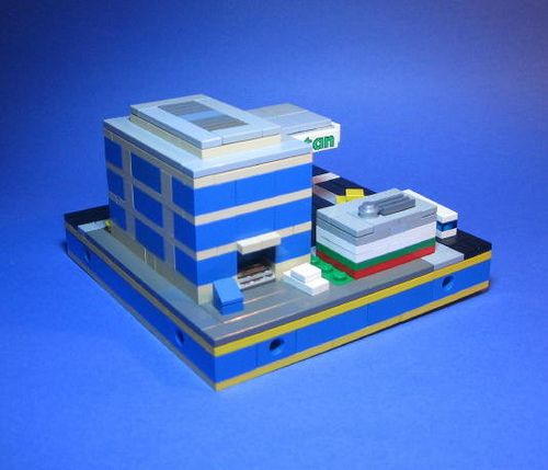 https://flic.kr/p/5kEoW5 | Octan Gas Staion | Gas station and small office Building  for TwinLUG MicroCity display, Lego store @ Mall of America