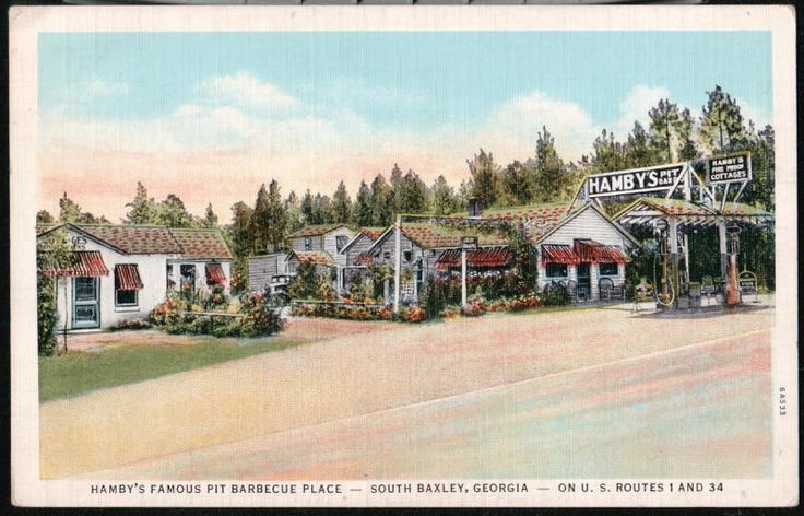 SOUTH BAXLEY GA Hamby's Pit BBQ Place Cottage Motel Rt 1 Vtg Postcard Georgia PC