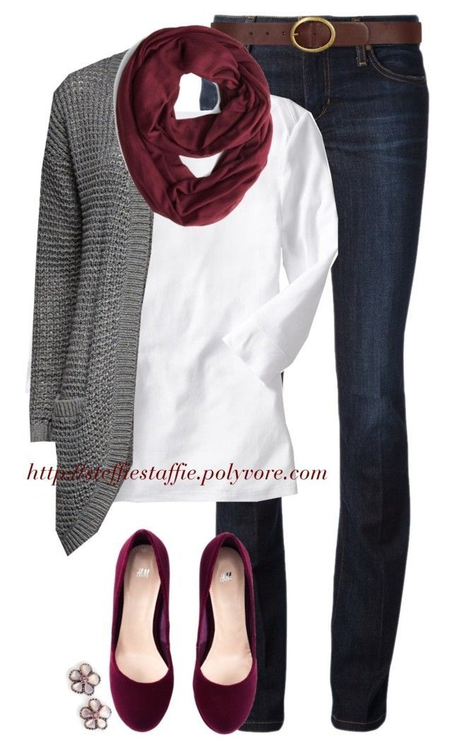 """Burgundy & Gray"" by steffiestaffie ❤ liked on Polyvore featuring Joe's Jeans, Dorothy Perkins, Old Navy, H&M and ONLY"