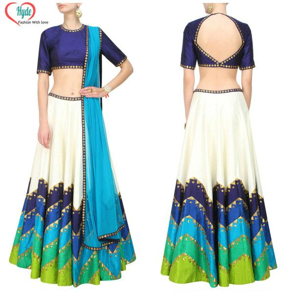 Ethical Dresses – Aqua Lehnga Embroidered Cape Dress By Tina Agrawa – a unique…