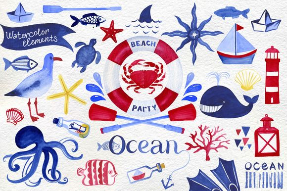 Love this cute watercolor nautical clip art!