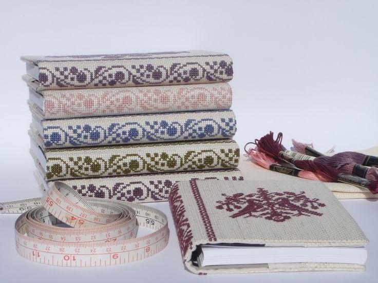 Scandinavian Cross Stitch A6 Journal Cover    teribear via felt.co.nz