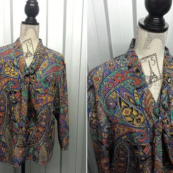 Ideal Abstract Hipster Shirt Fresh Prince of Bel Air Pussybow Blouse Grunge Shirt Paisley Shirt Club Kid Oversized Shirt Psychedelic blouse