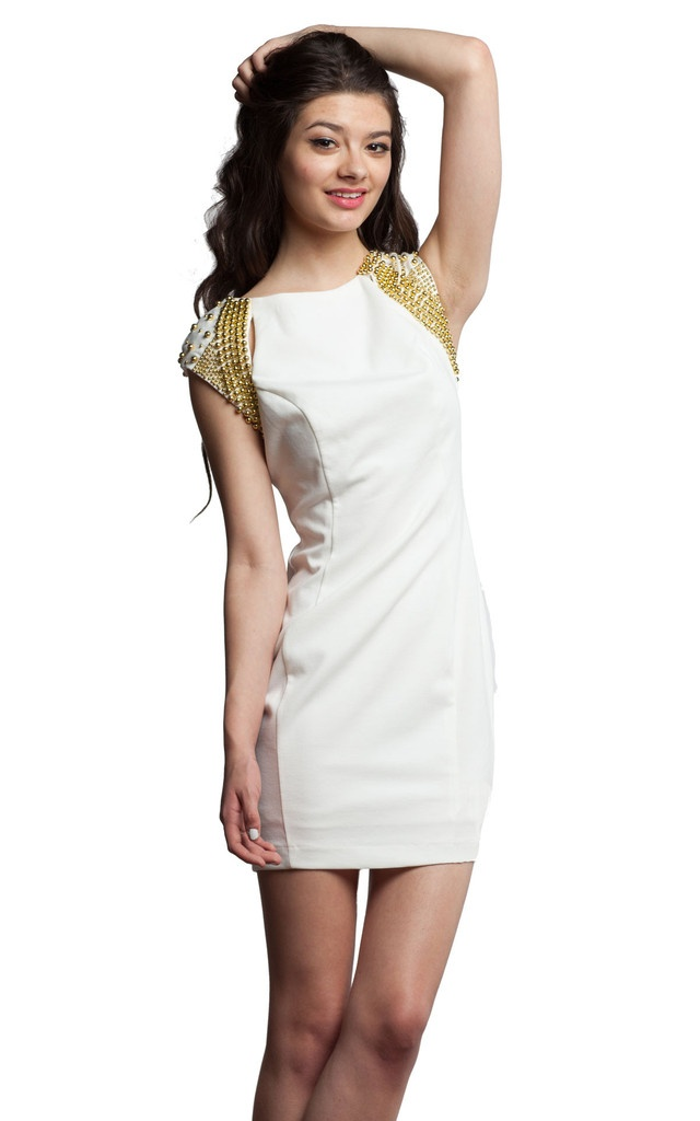 Ark & Co. White Dress with Gold Embellished Cap Sleeves and Cutouts