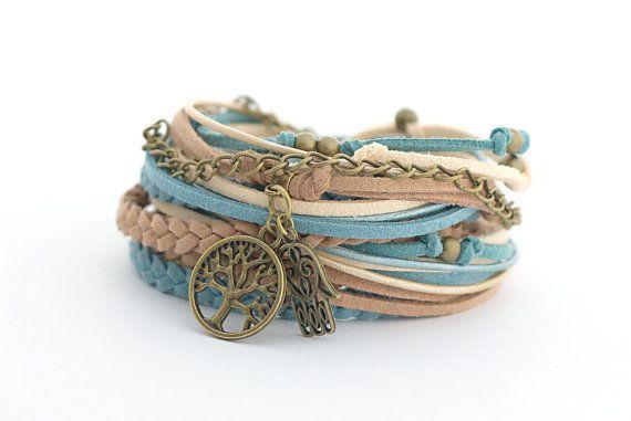 Tree of Life Wrap Bracelet, Hamsa Hand Bracelet, Yoga Bracelet, Leather wrap, Boho bracelet, double wrap, boho chic