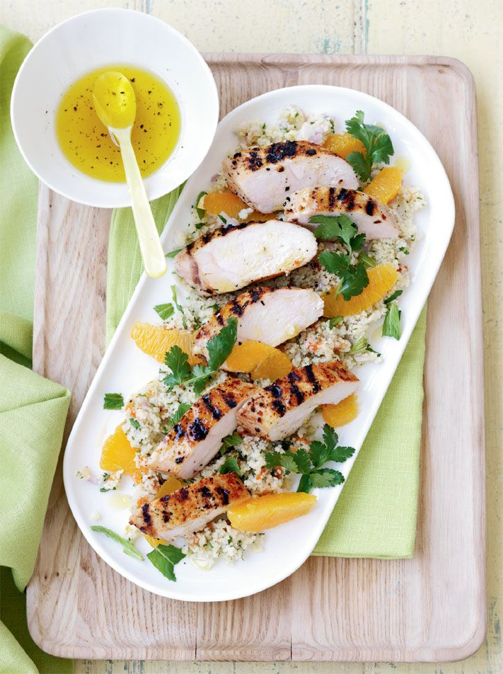 Moroccan chicken with couscous salad. This delicious recipe is perfect for summer entertaining! #Woolworths #recipe #salad http://www2.woolworthsonline.com.au/Shop/Recipe/638?name=moroccan-chicken-with-couscous-salad