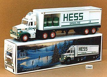 1987 Hess Toy Truck Bank with Barrels by Hess. $59.99. HESS'S CHRISTMAS TRUCK FOR 1987 THAT NOT ONLY HAS WORKING HEAD AND TAIL LIGHTS BUT ALSO SERVES AS A BANK,AND IS THE MOST SUBSTANTIAL VERSION OFFERED AT THE TIME!