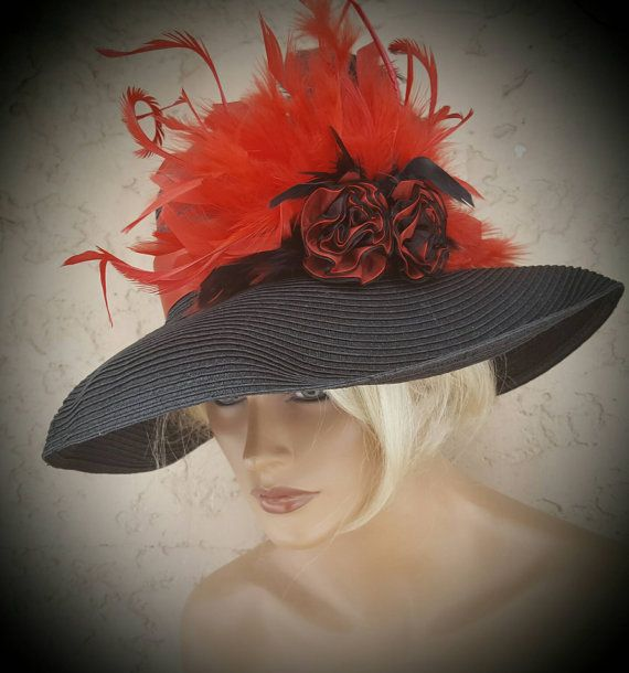 Check out this item in my Etsy shop https://www.etsy.com/listing/506365033/red-black-hat-wedding-hat-special