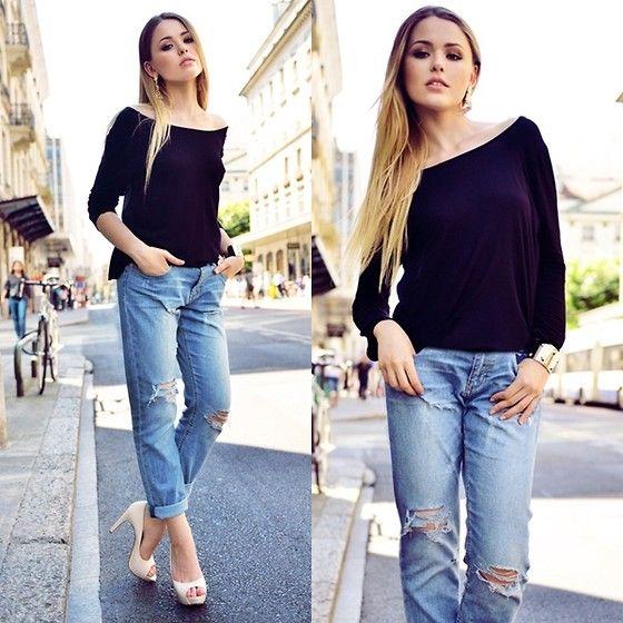 yes: Denim Jeans, Style Inspiration, Black And Nudes, Kristina Bazan, Fashion Inspiration, Boyfriends Jeans, Torn Jeans, Peeps Toe Heels, Fashion Women