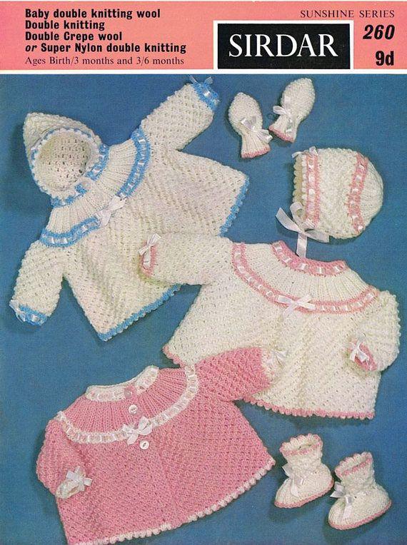 PDF Vintage Baby Knitting Pattern Sirdar 260 Sunshine Series