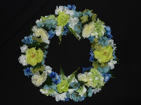 Lime Green Light Blue Silk Floral Wreath Front by wreathsbyrobin, $35.00