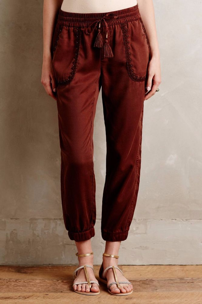 NWT ANTHROPOLOGIE STUDDED CARGO BROWN JOGGERS PANTS by HEI HEI M #HeiHei #Joggers