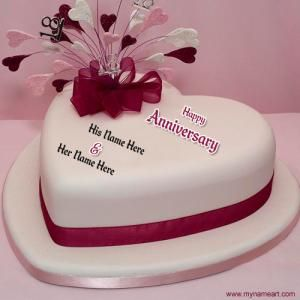 Create happy marriage anniversary heart shape cake picture online. Write my name on awesome wedding anniversary cake pix. edit your name on couple name cake.