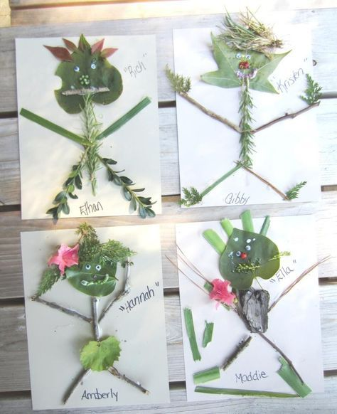 fun outdoor craft using all sorts of items from nature! good for exploring nature, fine motor, sensory, and for body awareness activity.