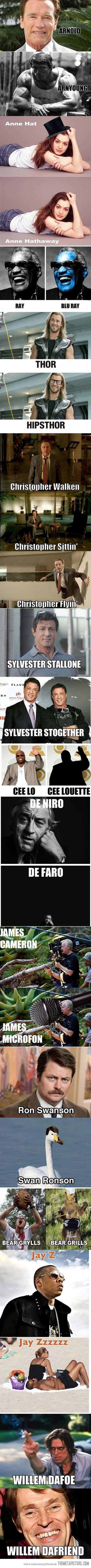 A compilation of celebrity puns…