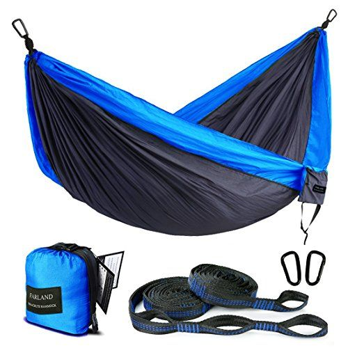 Outdoor Camping Hammock Portable Anti-fade Nylon Single Double Hammock with Loop Straps by FARLAND. For product & price info go to:  https://all4hiking.com/products/outdoor-camping-hammock-portable-anti-fade-nylon-single-double-hammock-with-loop-straps-by-farland/