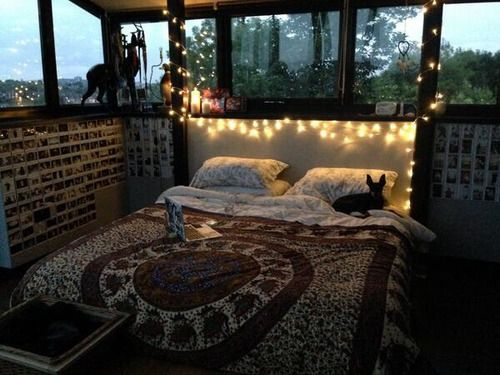 Grunge Bedroom Girls Fairy Lights Dark House Patterns Perfect My Dream Room