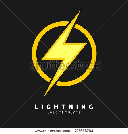 Yellow Lightning symbol. Logo template for electric company, and superhero logo. Vector eps.10