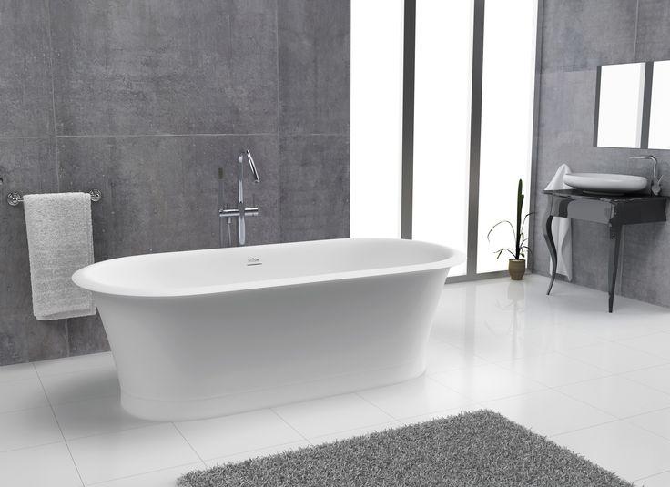 Bañera de estilo clásico y formas suaves fabricada en material solid sanycces