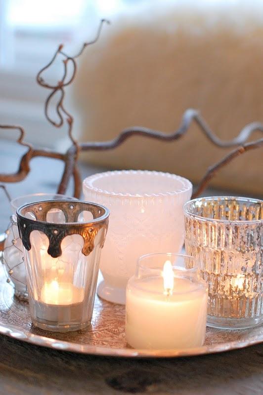 Kerzen m. Silbertablett