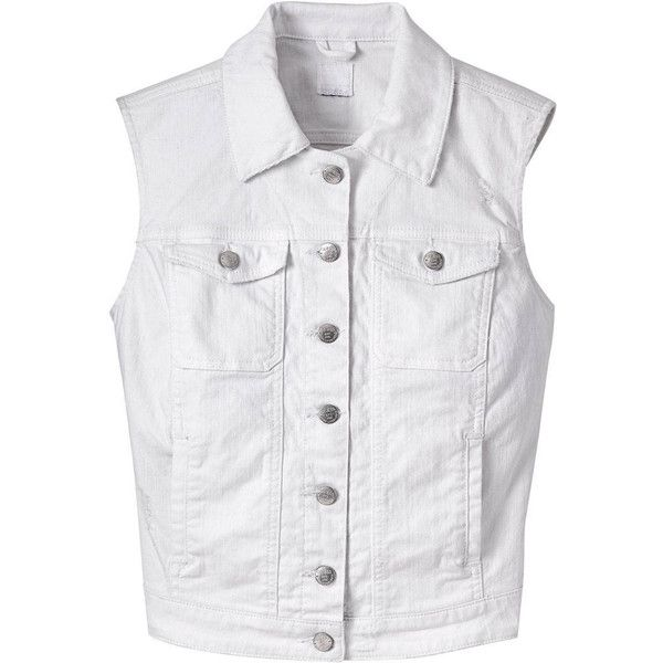 Guess White Denim Vest - Denim Vests Fashion Trends ❤ liked on Polyvore featuring outerwear, vests, white denim jacket, sleeveless vest, white denim vest, white jean jacket vest and denim vest