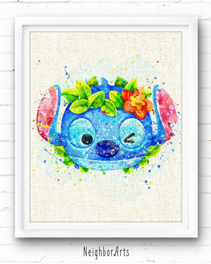 Watercolor Disney, Hawaii Stitch Art Print, Burlap Print, Tsum Tsum, Nursery Decor, Kids Decor, Home Decor, Baby Room Wall Art, Gift, NA403 by NeighborArts on Etsy https://www.etsy.com/listing/277265438/watercolor-disney-hawaii-stitch-art