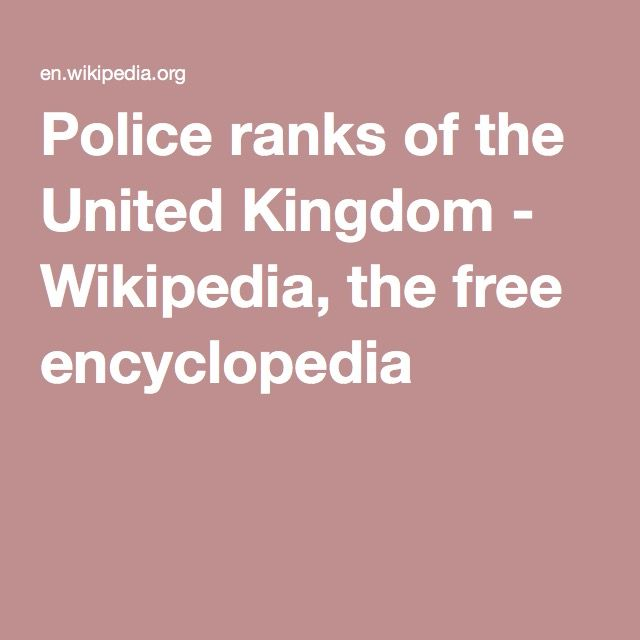 Police ranks of the United Kingdom - Wikipedia, the free encyclopedia