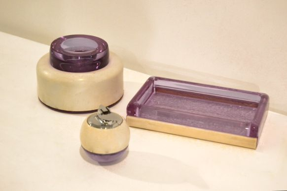 Joe Colombo Smoking Set | Italy | Very thick Purple Glass, Lacquered Metal. 1970s. | AVAILABLE IN SHOWROOM