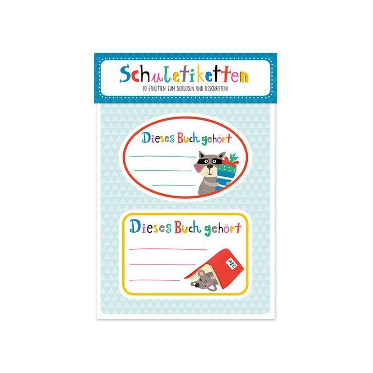 """Mit den farbenfrohen Schuletiketten """"Tierischer Schulspaß"""" können Bücher und Hefte immer dem richtigen Besitzer zugeordnet werden. Die ovalen und rechteckigen Aufkleber bieten Platz für den Namen sowie die Klasse des Kindes."""