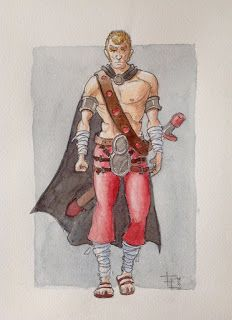 Fabrizio Lorito: Warrior in red and grey - Watercolor - Character design WIP