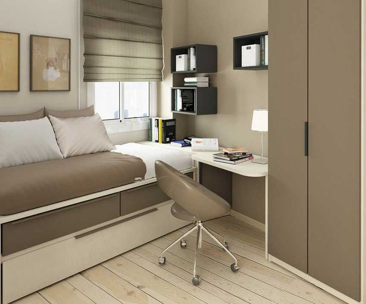 Charming Light Brown Small Bedroom Ideas With Single Bed With Drawer Equipped With  Small Study Table Design Part 26