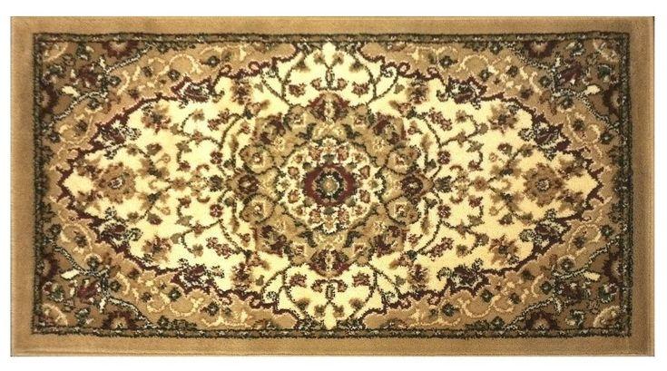 Traditional Oriental Door Mat Design Bellagio 401 Beige (24 Inch X 40 Inch)