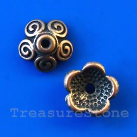 Bead cap, antiqued copper finished, 11x4mm. #TreasureStone Beads Edmonton. www.TreasureStoneBeads.com