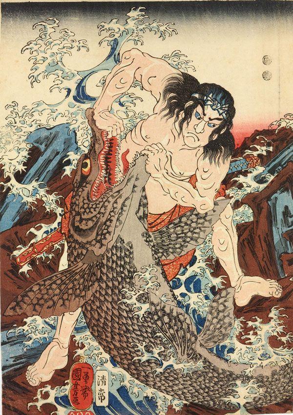 Asahina Saburo Yoshihide Wrestles with Two Crocodiles at Kotsubo Beach, Kamakura — Utagawa Kuniyoshi.1997-1861