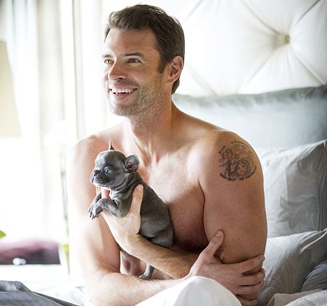 Scott Foley Lies Shirtless in Bed With Puppies for Charisma Photos - Us Weekly