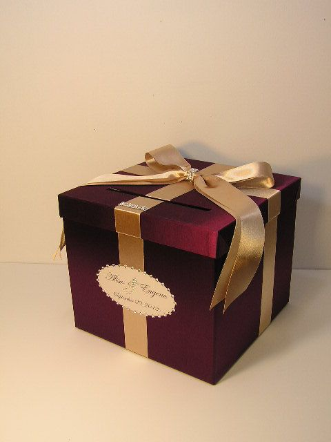 Burgundy and Champagne Wedding Card Box Gift Card Box Money Box Holder-Customize your color
