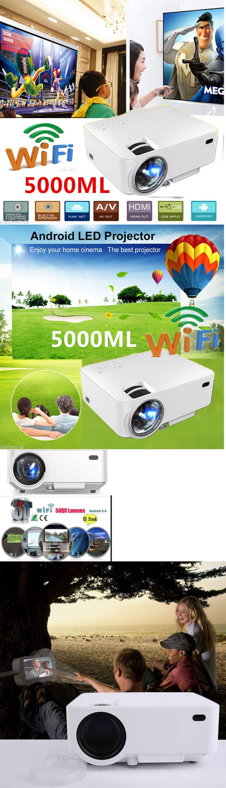 Home Theater Projectors: Android 4.4 Wifi 1080P Led 3D Av Hdmi Tv Home Theater Business Projector White -> BUY IT NOW ONLY: $128.98 on eBay!