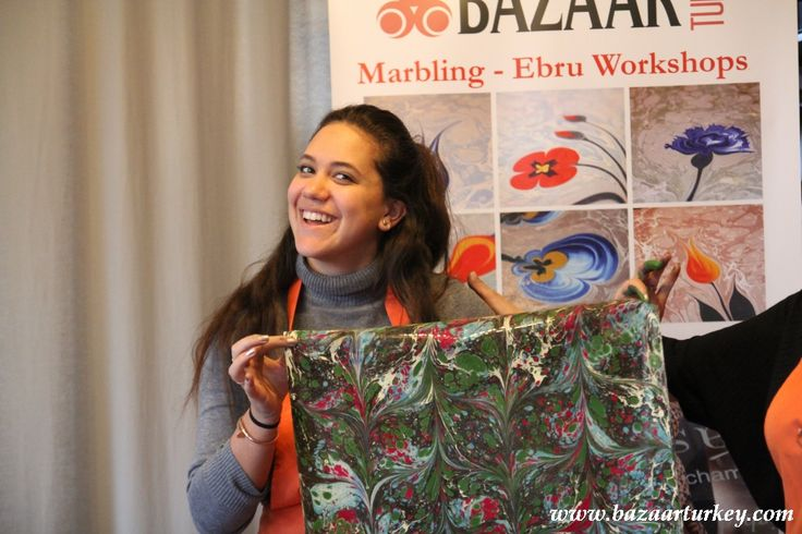 Art of Turkish Marbling - Classes are in Istanbul All Year Long..  Guests From USA  - April 2016 http://www.bazaarturkey.com/tours/turkish_marbling_lesson.html