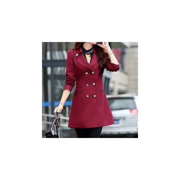 Double-Breasted Trench Coat (£25) ❤ liked on Polyvore featuring outerwear, coats, women, leather-sleeve coats, purple coat, purple trench coat, double-breasted trench coat and trench coat