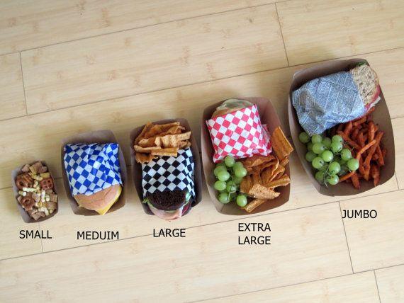 5 sizes of kraft food trays.