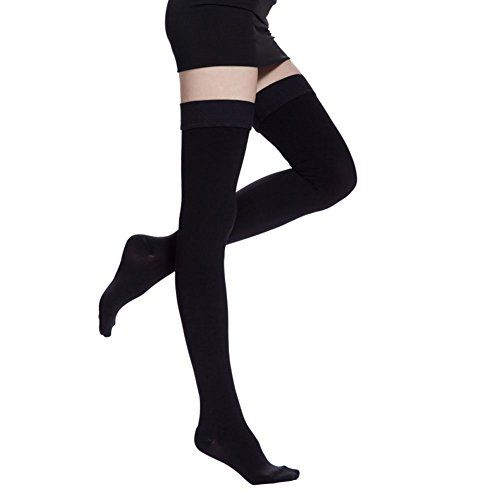 CTK Compression Stockings-Thigh High Microfiber Medical Tight Socks 20-30mmHg  Medical Compression Stockings w/Premium Quality, Breathable &Durable Compression Fabric;Material:83% nylon and 17% spandex  True Medical Grade Support classic Compression Stockings Frim strength 20-30mmHg For Men and Women's;  To the People who Work long hours,it can help to eliminate theedema of the feet and relax the legs;  Long-time use can prevent you from the stoop and make your legs thinner;  The part ...