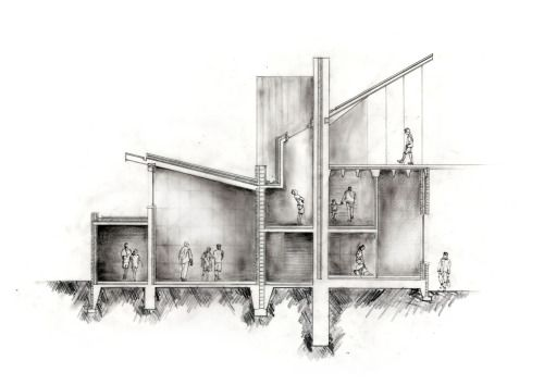 archisketchbook:  Hand rendered entrance sequence sectional study. Joseph Coulter