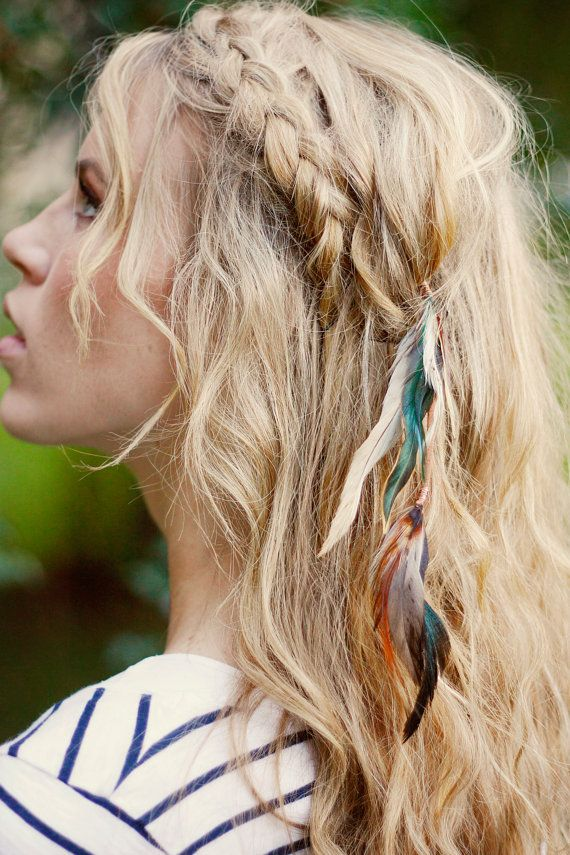 Feather Hair Clip: hair feathers extension blue by kelseysfeathers