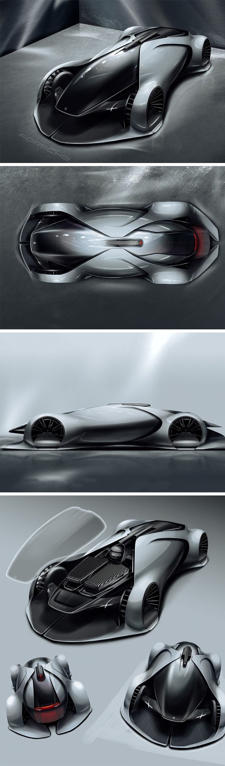 This concept Porsche race car by Zhang Ningbo showcases a highly fluid design with a slight Daniel Simon touch to it. The electric car is for a future in which drivers won't sit within the car, but outside, with remote-controllers, operating the cars like drones.Tap the link to check out great drones and drone accessories. Sales happening all the time so check back often!