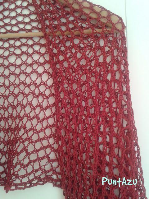 Chal a punto Malla a dos agujas. Knit. ligero y apropiado para el verano.
