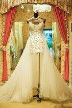 Yp0119 роскошь сердечком вышивка бисером кристалл высокая низкая пром платья открытая задняя часть вечернее ну вечеринку платья съёмный поезд(China (Mainland))